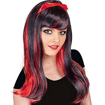 Wig Mila longhair red black vamp