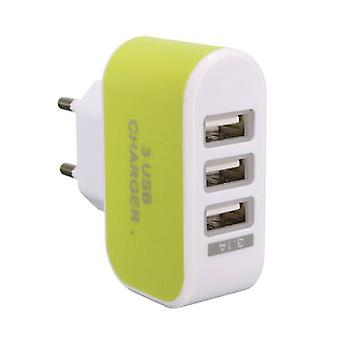 Stuff Certified ® 2-Pack Triple (3x) USB Port iPhone / Android Wall Charger Wall Charger Green