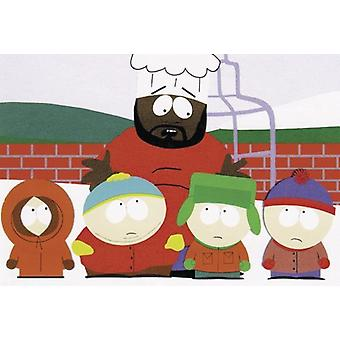 South Park Poster  four boys and chef