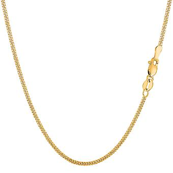 14k Yellow Gold Gourmette Chain Necklace, 1.5mm