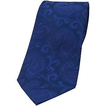 David Van Hagen Paisley Silk Tie - Royal Blue