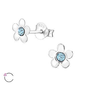 Flower - 925 Sterling Silver Crystal Ear Studs - W32811X
