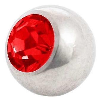Piercing boule de rechange, bijoux de corps, Pierre rouge | 1, 6 x 4, 5 et 6 mm