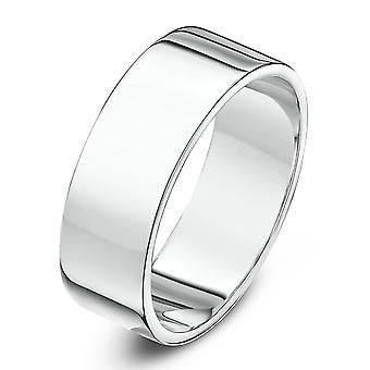 Star anneaux de mariage 18 carats or blanc lourd plat 6mm bague de mariage