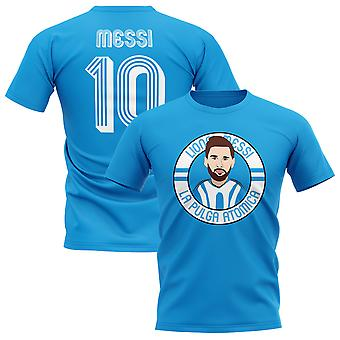 Lionel Messi Argentinien Illustration T-Shirt (Sky)