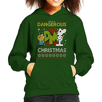 Danger Mouse Dangerous Christmas Knit Pattern Kid's Hooded Sweatshirt