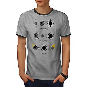 Eclipse astronomie mannen Heather Grey / Heather donkere T-shirt van de GreyRinger | Wellcoda