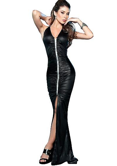 Waooh - Sexy Fashion - langes Kleid Leder - Club Sexy