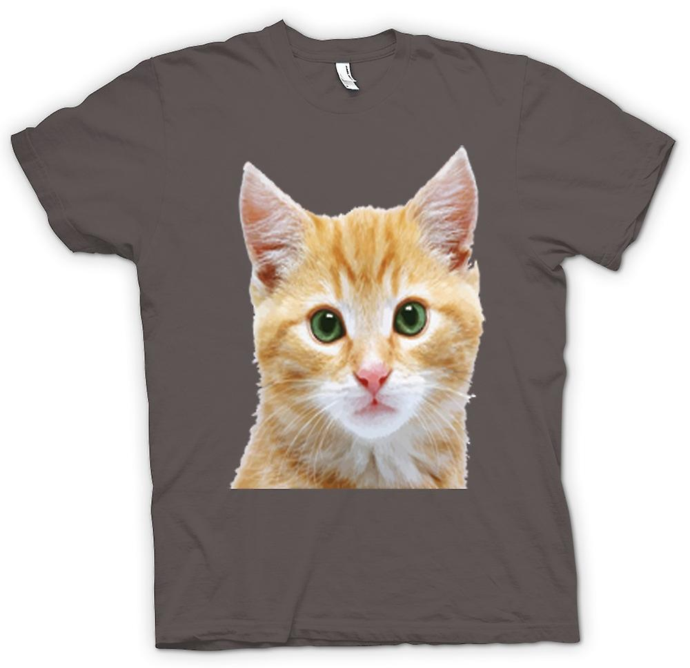 Womens T-shirt - Cute Red Kitten Face Portrait