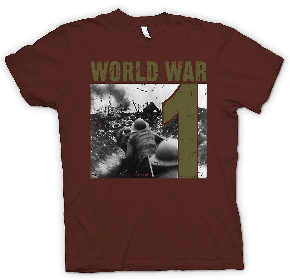 Mens T-shirt - World War 1 - Trenches And Machine Guns