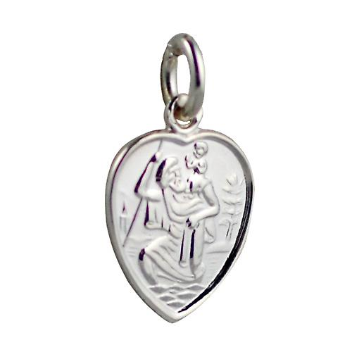 Silver 15x13mm heart St Christopher Pendant