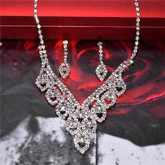 Silver Sparkling Crystal Wedding Bride Jewelry Set