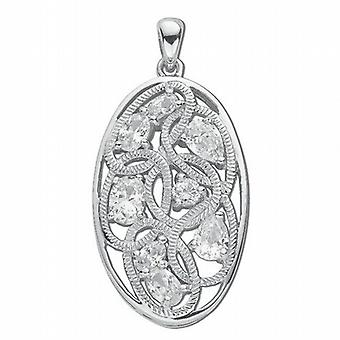 TOC Sterling Silver Fancy Oval Crystal Pendant on 18 Inch Chain