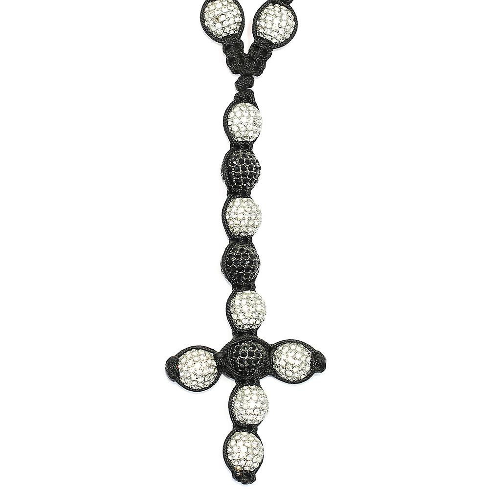 Shamballa Style Pave Crystal Disco Ball Rosary Chain Clear Black