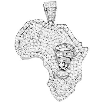 Premium Bling 925 Sterling Silber Afrika Anhänger