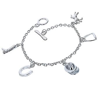 TOC Silvertone Horse Riding Multi Charm T-Bar Bracelet 8