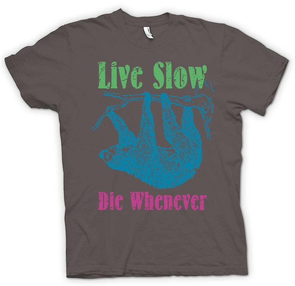 Womens T-shirt - Live Slow Die Whenever - Cool Sloth