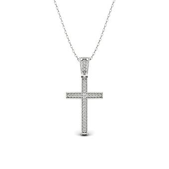 IGI Certified S925 Sterling Silver 0.1Ct TDW Diamond Cross Necklace