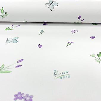 Holden Decor Holden Butterfly Garden Pattern Childrens Wallpaper Ladybird Flower Hearts Glitter 12471