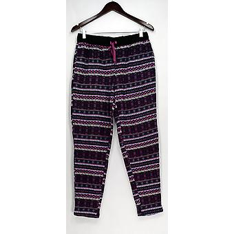 Cuddl Duds lounge broek, slaap shorts stretch fleece pyjama broek zwart