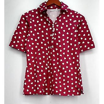 Susan Graver Top Printed Stretch Cotton Elbow Sleeve Polo Shirt Pink A252585