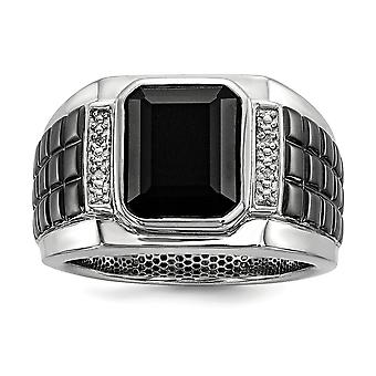 925 Sterling Silver Bezel Polished Prong set Gift Boxed Diamond and Simulated Onyx Square Black Rhodium-plated Mens Ring