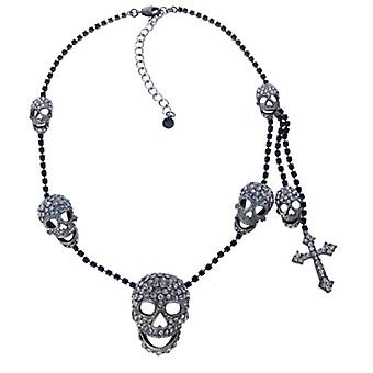 Butler & Wilson Black Diamond Crystal Skulls & Cross Necklace