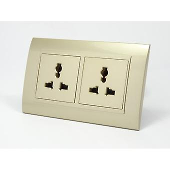 I LumoS AS Luxury Gold Plastic Arc  Unswitched 3 Pin Multi Plug Double Socket