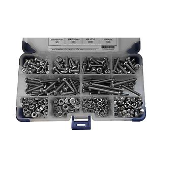 540 Piece Pozi Pan Machine Set Screws A2 Stainless Steel M4 4MM with Nuts and Washers
