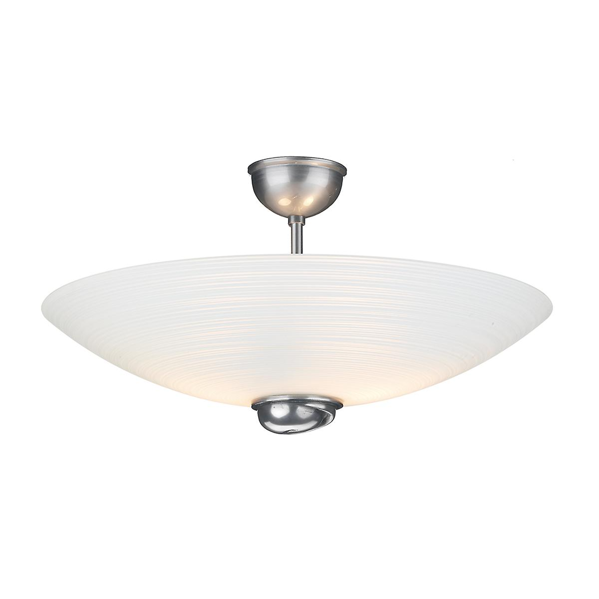 David Hunt SWF5867 Swirl Semi Flush Pendant In Pewter With White Glass