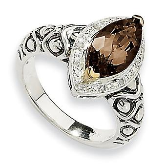Sterling Silver With 14k 3.00Smokey Quartz and 1/20ct. Diamond Ring - Ring Size: 6 to 8