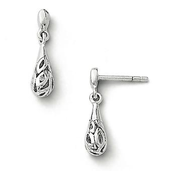 Sterling zilver wit Ice Diamond Earrings -.01 dwt