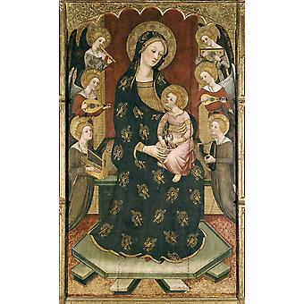 Serra Pere Madonna With Angels End 14Th C Gothic Art Tempera On Wood Spain Barcelona National Art Museum Of Catalonia Proc Spain Tortosa  AisaEverett Collection Poster Print