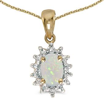 14k Yellow Gold Oval Opal And Diamond Pendant with 18