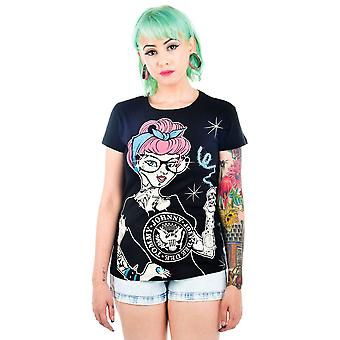Too Fast Womens Punk Rock Cindy Slashback Tshirt Black Cinderella Tattoo