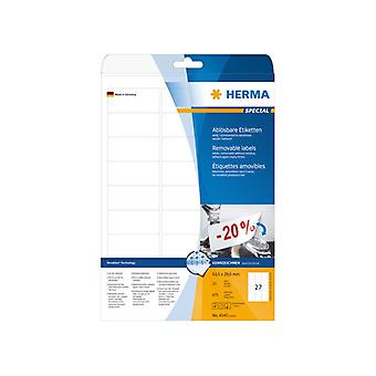 Labels white HERMA Movables 63, A4 5x29 675, 6 pcs