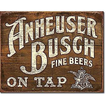 Anheuser Busch On Tap Metal Sign   420mm x 300mm  (sf)