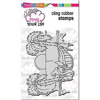 Stampendous Pink Your Life Cling Stamp 7.75