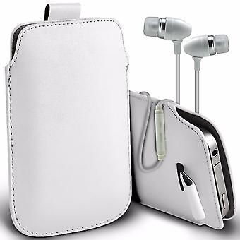 i-Tronixs Premium Stylish Faux Leather Pull Tab Pouch Skin Case Cover with Aluminium Stereo Hands Free Earphone For Vertex Impress In Touch 4G (5