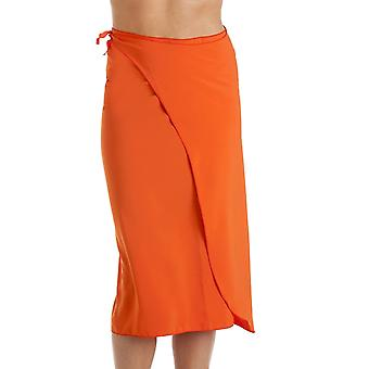 Camille Camille Womens Long Length Orange Summer Beach Sarong