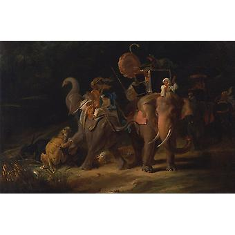 Thomas Daniell - Tiger Hunting in the East Indies Poster Print Giclee