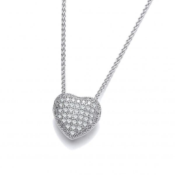 Cavendish French CZ Small Slotted Heart Sterling Silver Pendant without Chain