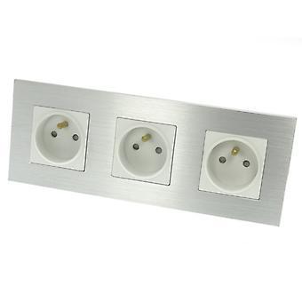 I LumoS Luxury Silver Brushed Aluminium Frame 16A French Triple Socket
