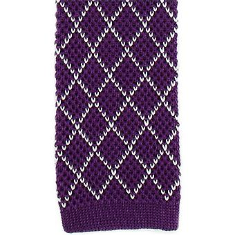 Michelsons of London Diamond Silk Knitted Skinny Tie - Purple/White