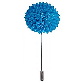 Bassin and Brown Large Flower Lapel Pin - Blue