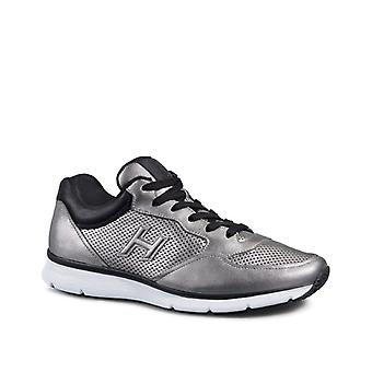 Hogan men sneakers in silver Laminated calf leather