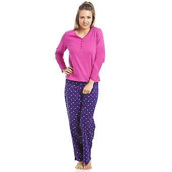 Camille Full Length 100% Cotton Pink And Purple Star Print Pyjama Set
