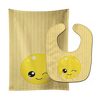 Carolines Treasures  BB8728STBU Winky Face Baby Bib & Burp Cloth