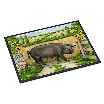 Black Pig with Sunflowers Indoor or Outdoor Mat 24x36
