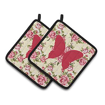 Butterfly Shabby Chic Yellow Roses  Pair of Pot Holders